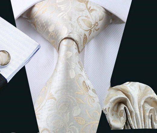 Elegantná kravatová sada Bary - kravata + manžety + vreckovka, č.10