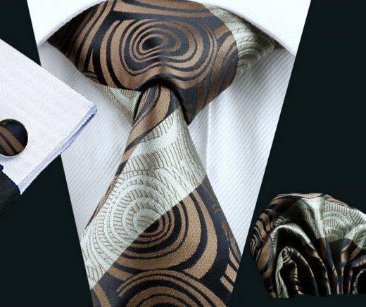 Elegantná kravatová sada Bary - kravata + manžety + vreckovka, č.12
