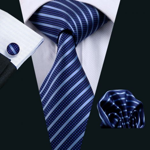 Elegantná kravatová sada Bary - kravata + manžety + vreckovka, č.14