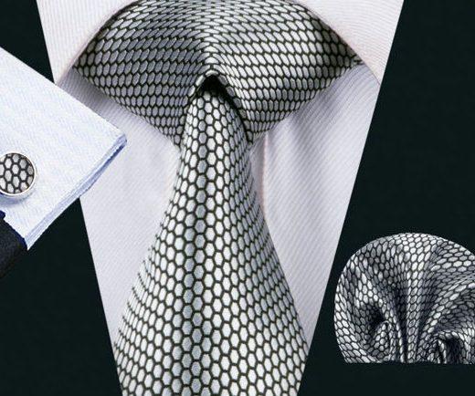Elegantná kravatová sada Bary - kravata + manžety + vreckovka, č.15