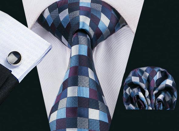 Elegantná kravatová sada Bary - kravata + manžety + vreckovka, č.16