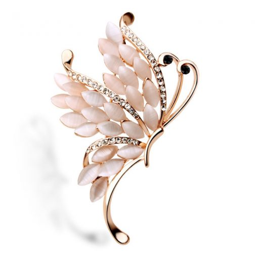 Nádherná luxusná zlatá brošňa v tvare motýľa
