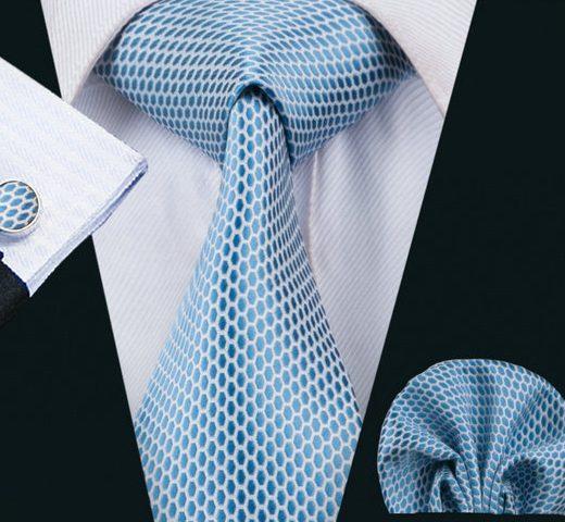 Elegantná kravatová sada - kravata + manžety + vreckovka, vzor 1.