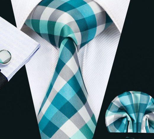 Elegantná kravatová sada - kravata + manžety + vreckovka, vzor 2.