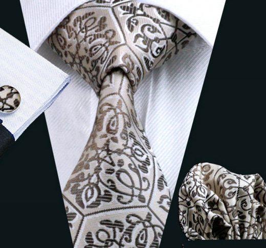 Elegantná kravatová sada - kravata + manžety + vreckovka, vzor 4.