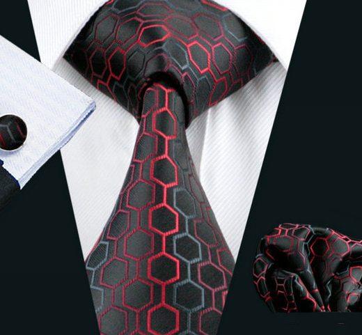 Elegantná kravatová sada - kravata + manžety + vreckovka, vzor 8.