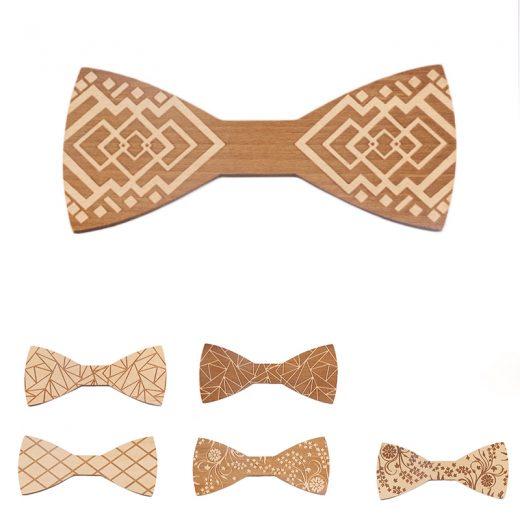 Elegantný drevený motýlik v šiestich rozličných vzoroch