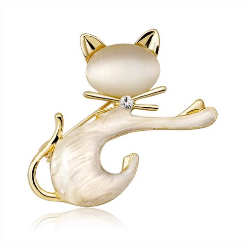 Luxusná brošňa v tvare mačičky v bielej a v čiernej farbe