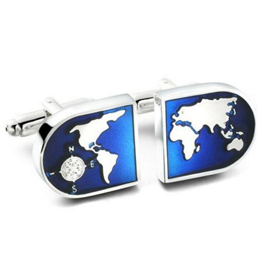 Luxusné manžetové gombíky s mapou sveta
