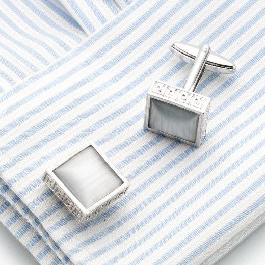 Luxusné manžetové gombíky v strieborno-sivej farbe