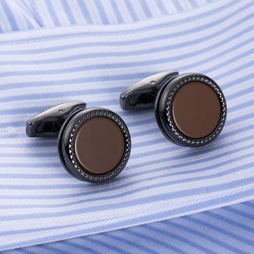 Luxusné manžetové gombíky v tvare kruhu v čierno-hnedej farbe