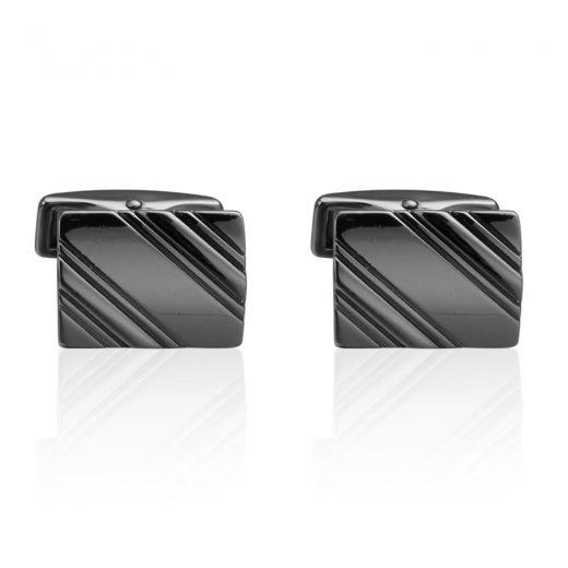 Luxusné manžetové gombíky v tvare obdĺžnika v čiernej farbe