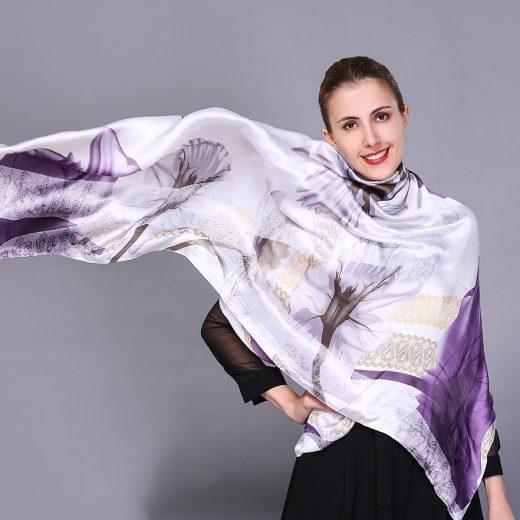 Luxusný hodvábny šál s jedinečným farebným vzorom, rozmer 195 cm x 110 cm