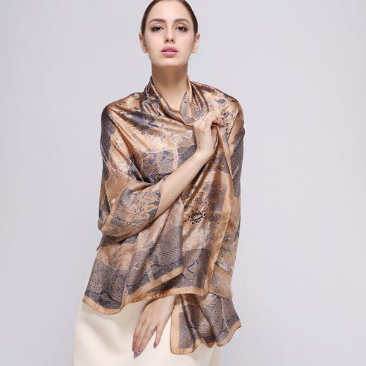 Luxusný hodvábny šál s jedinečným vzorom, rozmer 180 cm x 90 cm