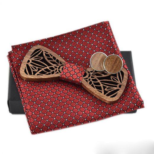 Luxusný spoločenský set - drevený motýlik + manžety + vreckovka, vo viacerých farbách