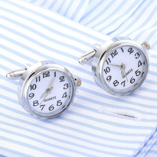 Originálne manžetové gombíky v tvare ručičkových hodiniek s bielym ciferníkom