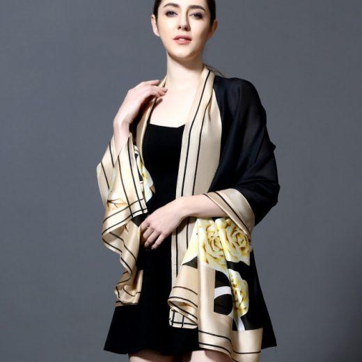 Luxusný dámsky šál so vrozom kvetov v zlato-čiernej farbe