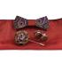Set drevený motýlik s ľudovým motívom + manžety + vreckovka + brošňa vo viacerých farbách