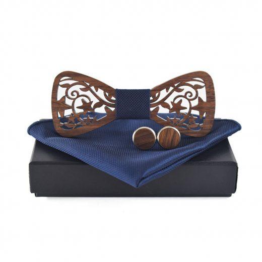 Tmavý drevený motýlik vo viac farbách + manžety + vreckovka