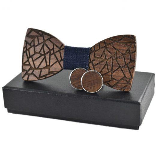 Viac farebný set s dreveným motýlikom + manžety