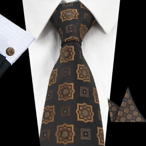 Elegantná sada pánskej kravaty + manžetové gombíky + vreckovka s hnedým vzorom