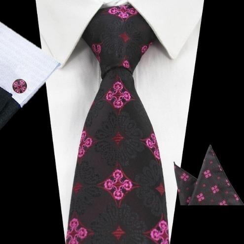Elegantná sada pánskej kravaty + manžetové gombíky + vreckovka s ružovým vzorom