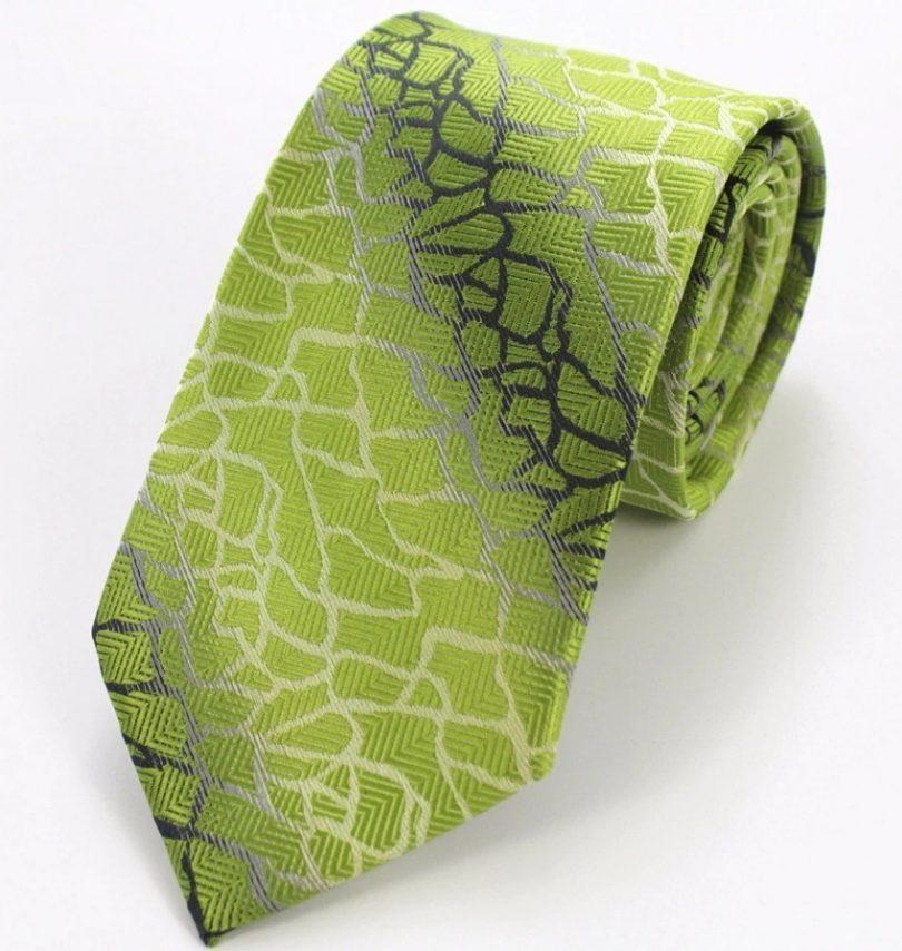 Elegantná sada pánskej kravaty + manžetové gombíky + vreckovka so zeleným vzorom