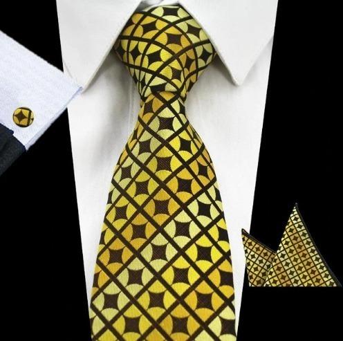 Elegantná sada pánskej kravaty + manžetové gombíky + vreckovka v žltej farbe