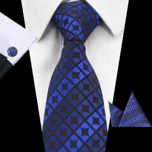Elegantná sada pánskej kravaty + manžetové gombíky + vreckovka v modrej farbe