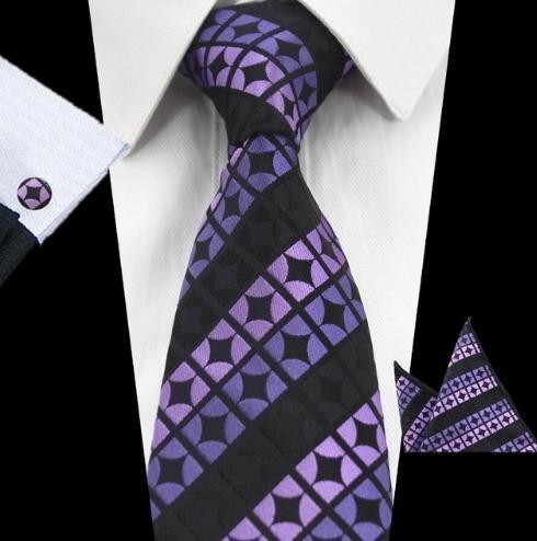 Elegantná sada pánskej kravaty + manžetové gombíky + vreckovka vo fialovej farbe