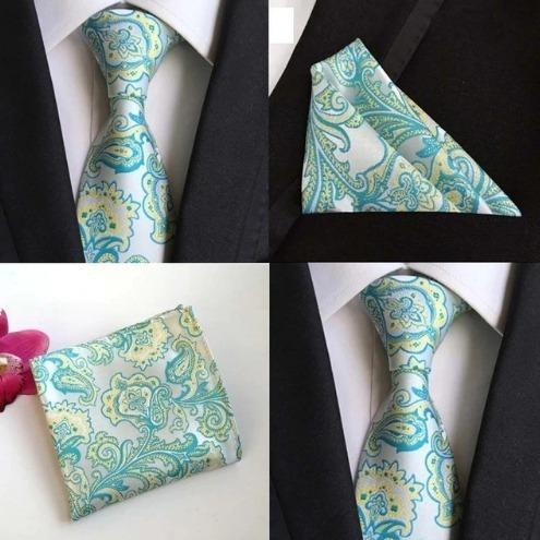 Hodvábna kravatová sada - hodvábna viazanka a vreckovka - vzor A