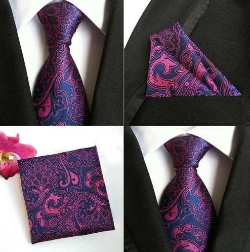 Hodvábna kravatová sada - hodvábna viazanka a vreckovka - vzor B