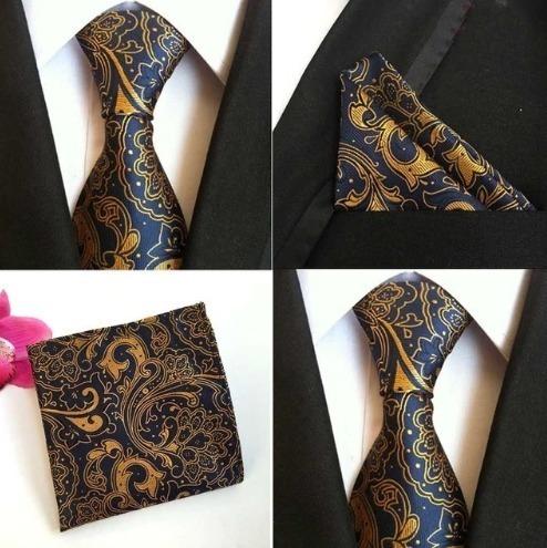 Hodvábna kravatová sada - hodvábna viazanka a vreckovka - vzor D