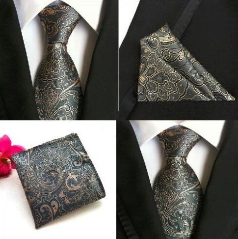 Hodvábna kravatová sada - hodvábna viazanka a vreckovka - vzor E
