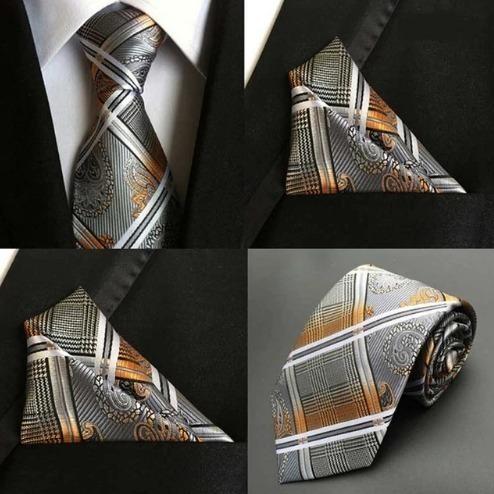 Hodvábna kravatová sada - hodvábna viazanka a vreckovka - vzor F