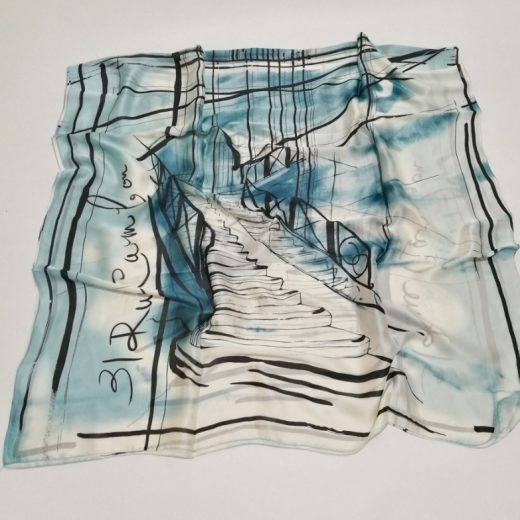 Luxusný hodvábny šál s motívom z moderného umenia - modrý, 180 x 90 cm