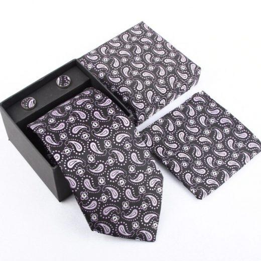 Luxusný kravatový set s jemným ružovo-čiernym vzorom