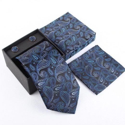 Luxusný kravatový set s prepracovaným modro-čiernym vzorom