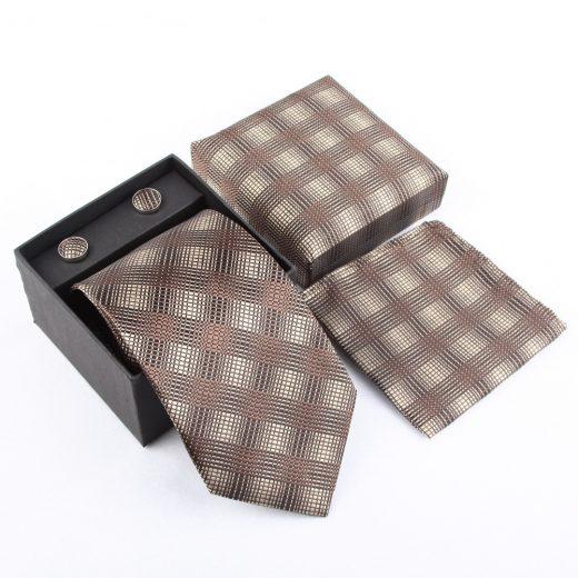 Luxusný kravatový set v sivo-krémovej farbe so vzorom