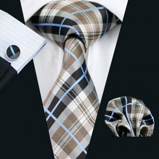 Elegantná sada kravaty + manžetové gombíky + vreckovka s károvaným vzorom