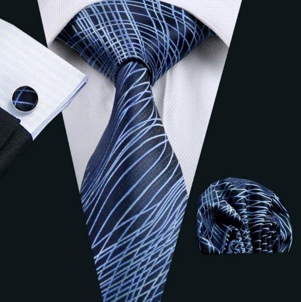Elegantná sada kravaty + manžetové gombíky + vreckovka v modrej farbe