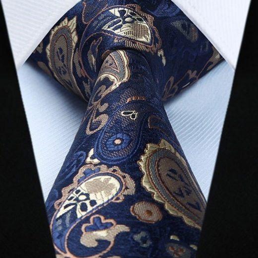 Hodvábna kravatová sada - kravata a vreckovka s modrým vzorom