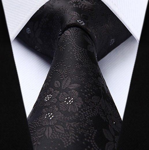 Hodvábna kravatová sada - kravata a vreckovka so vzorom v čiernej farbe
