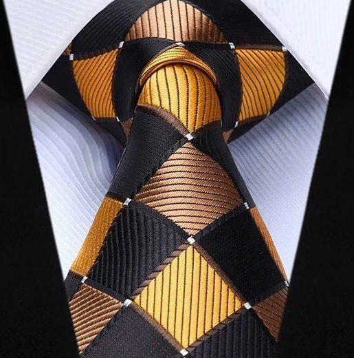 Hodvábna kravatová sada - kravata a vreckovka so vzorom v žltej farbe