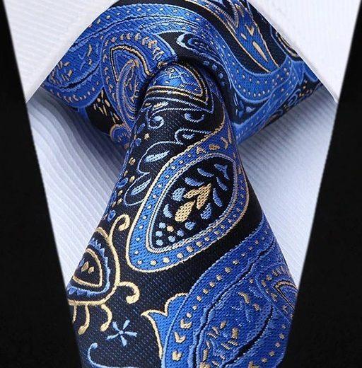 Hodvábna kravatová sada - kravata a vreckovka so vzorom v modrej farbe