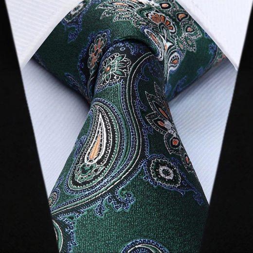 Hodvábna kravatová sada - kravata a vreckovka so vzorom v zelenej farbe