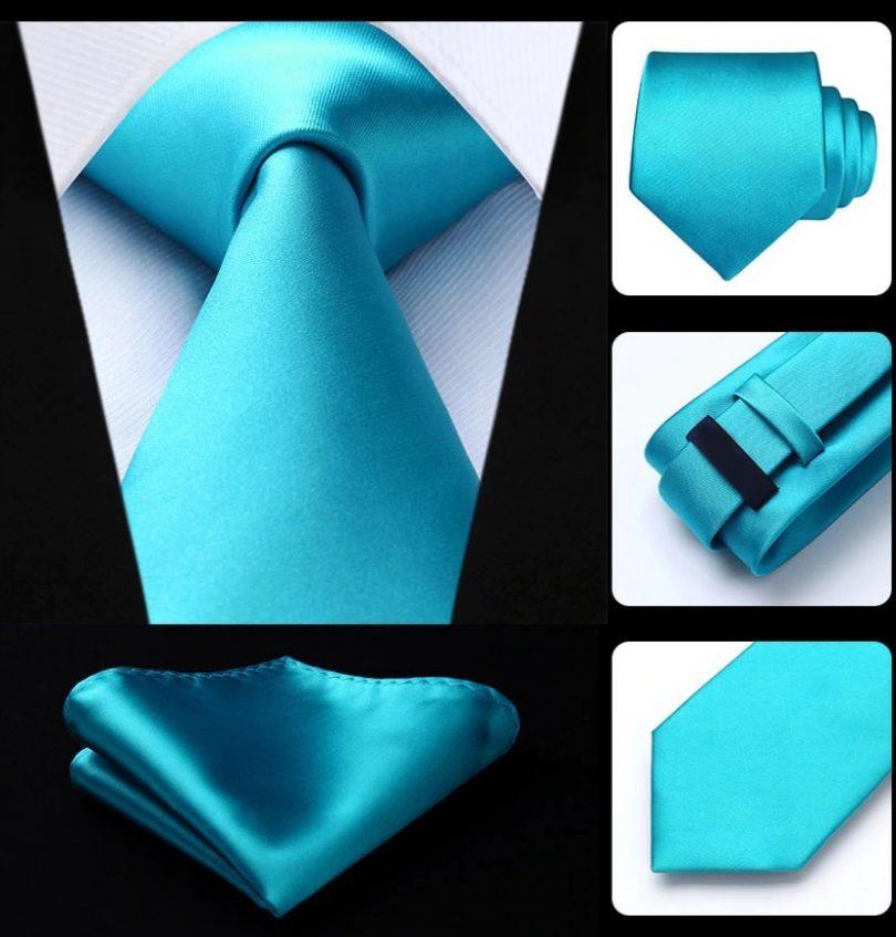 Hodvábna kravatová sada - kravata a vreckovka v tyrkysovej farbe