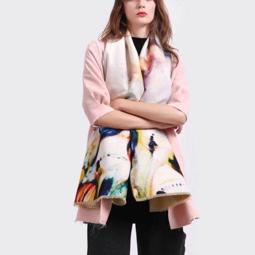 Kvalitný ručne tkaný kašmírový šál s nádherným farebným motívom