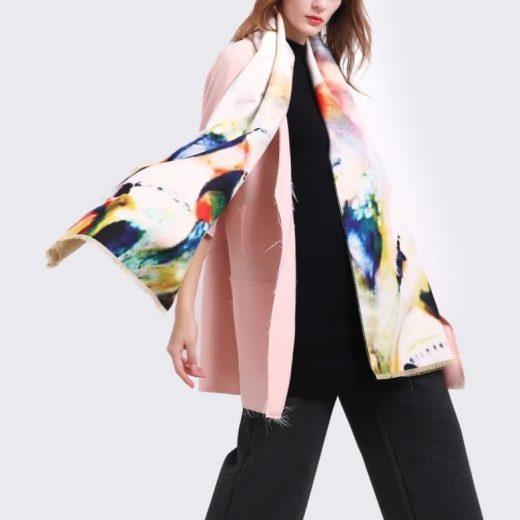 Kvalitný ručne tkaný kašmírový šál s nádherným farebným motívom ... ff0973940a