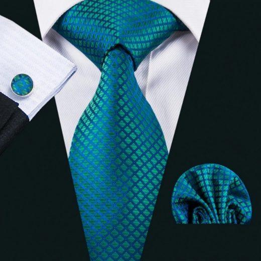 Elegantná sada kravaty + manžetové gombíky + vreckovka v zeleno-modrej farbe